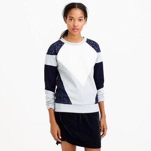 J. Crew Paneled Lace Sweatshirt